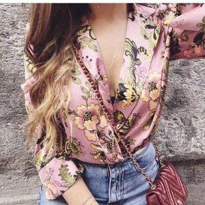 Zara Pink Floral Oriental Drape Front Bodysuit
